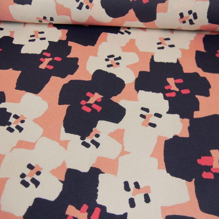 Tissu coton enduit Okina Hana fleurs marine - Rico design x 10 cm