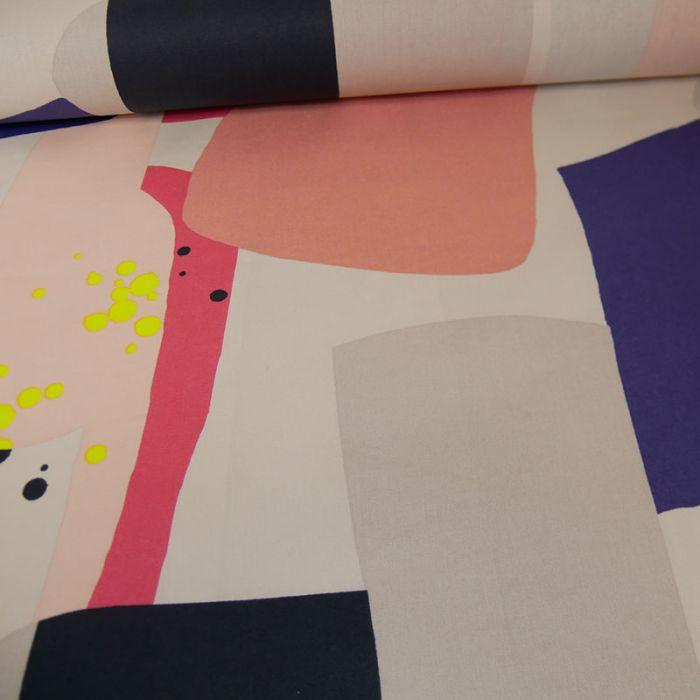 Tissu coton enduit Okina Hana graphique neon - Rico design x 10 cm