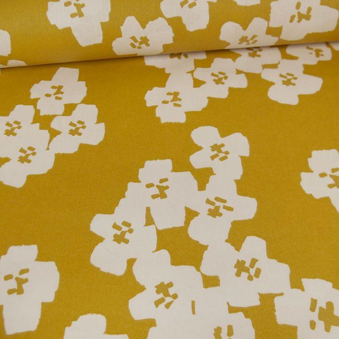 Tissu coton enduit Okina Hana fleurs moutarde - Rico design x 10 cm