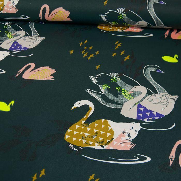 Tissu coton enduit Okina Hana cygnes canard - Rico design x 10 cm