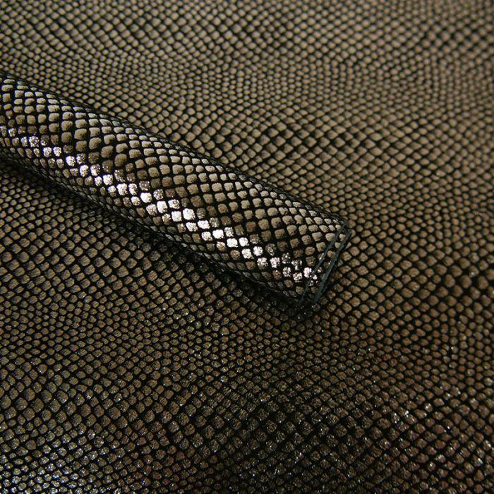 Coupon cuir de chèvre motif serpent argent - noir