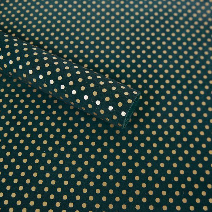 Coupon de cuir de chèvre pois or mat - Bleu canard