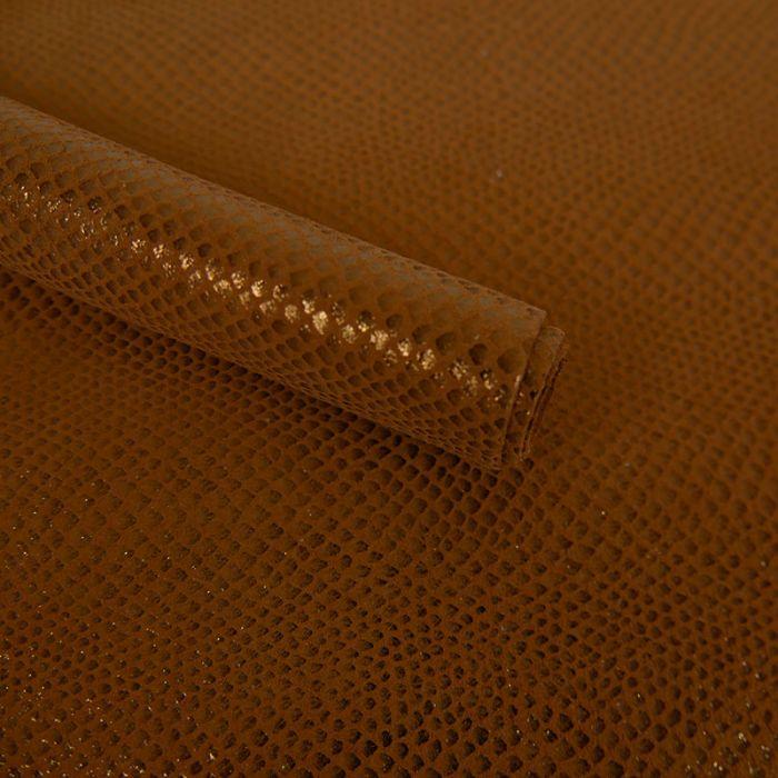 Coupon cuir de chèvre motif serpent cuivré - camel