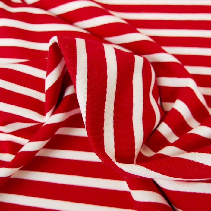 Tissu jersey sweat léger marinière - rouge x 10 cm
