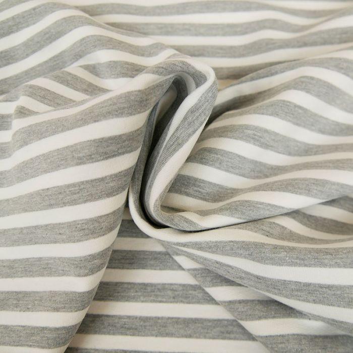 Tissu jersey sweat léger marinière - gris x 10 cm