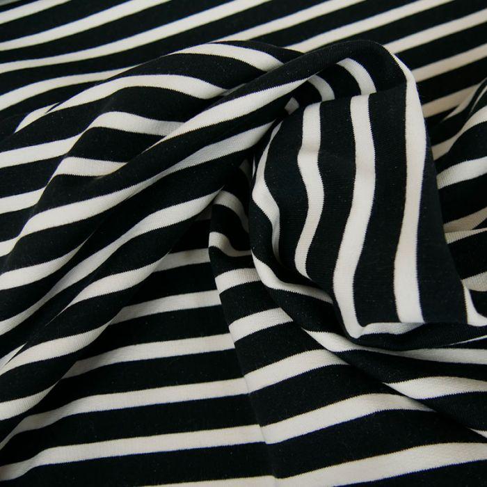 Tissu jersey sweat léger marinière - marine x 10 cm
