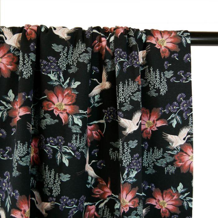 Tissu jersey oeko-tex Stenzo grues - noir x 10 cm