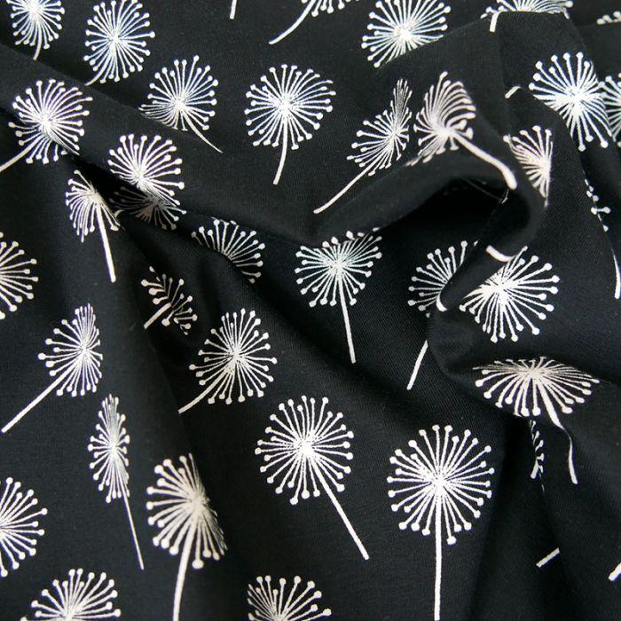 Tissu jersey oeko-tex Stenzo pissenlit - noir x 10 cm
