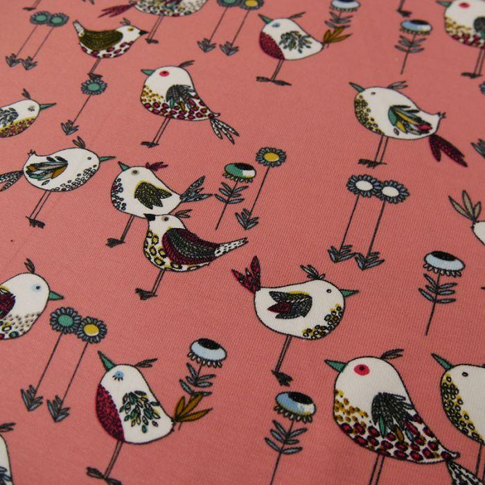 Tissu jersey fin oiseaux - rose  x 10 cm