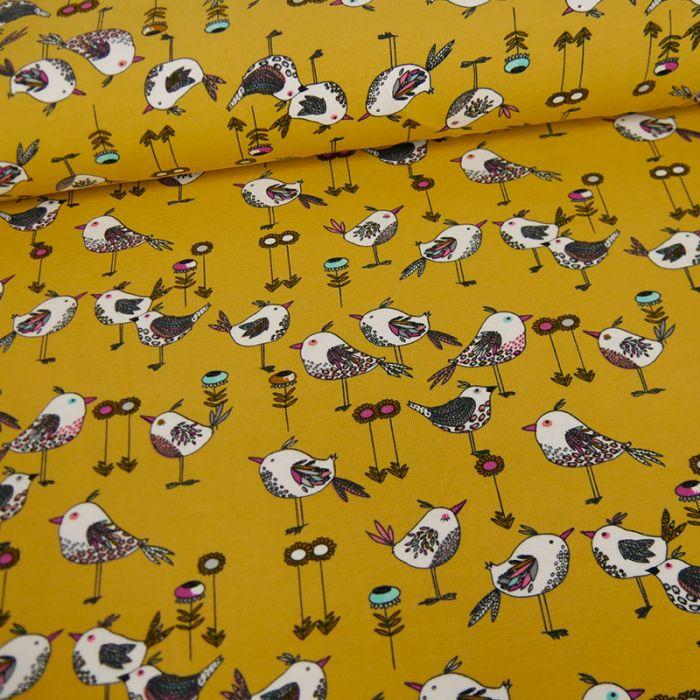 Tissu jersey fin oiseaux - moutarde x 10 cm