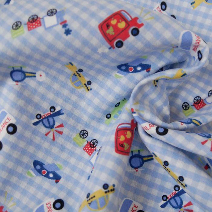 Tissu flanelle de coton transports - bleu x 10 cm