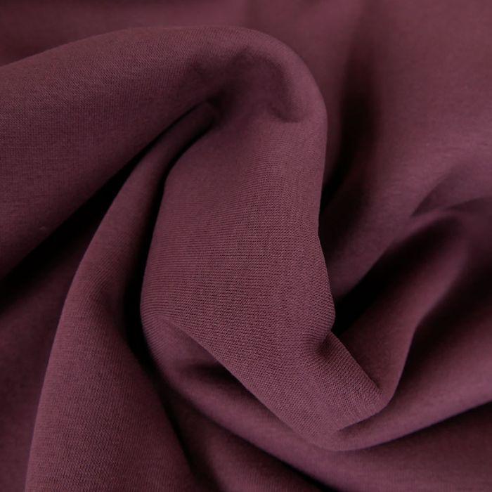 Tissu molleton sweat - aubergine x 10 cm