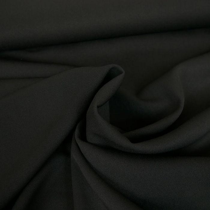 Tissu twill polyviscose stretch - noir x 10 cm