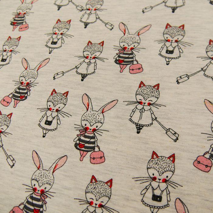 Tissu jersey fin girls - écru x 10 cm
