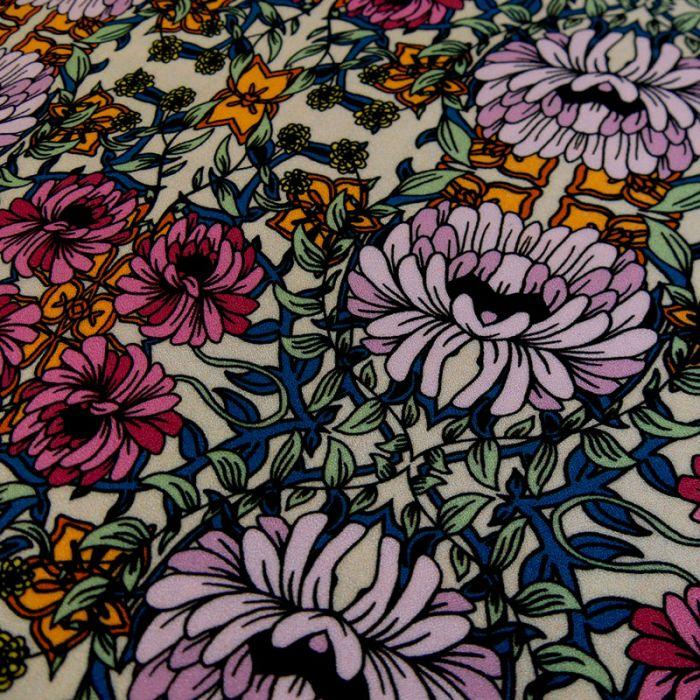 Tissu crêpe viscose fleurs vintage x 10 cm