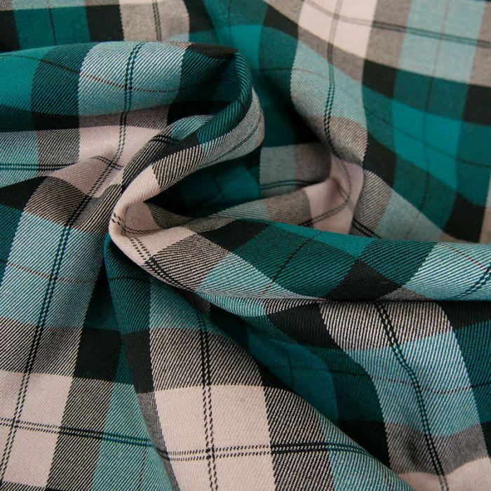 Tissu polyviscose carreaux - turquoise x 10 cm