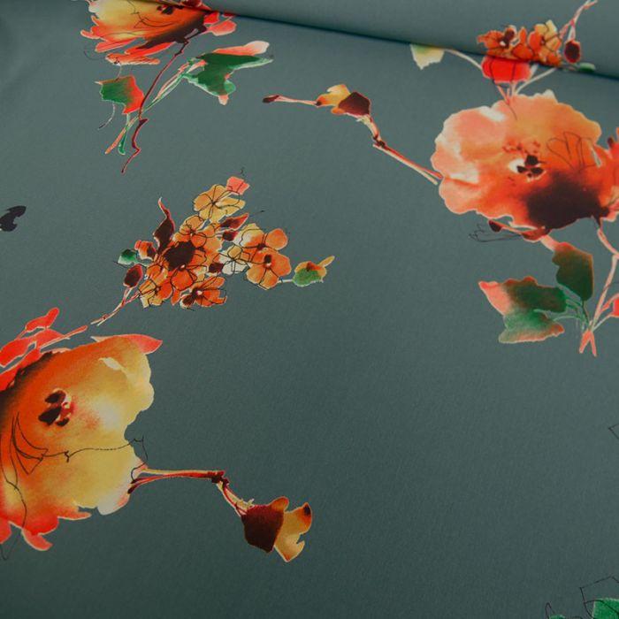 Tissu polyester fleurs orange - vert x 10 cm