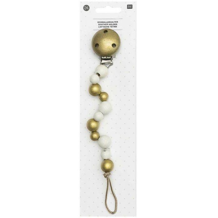 Attache tétine perles en bois - Rico Design