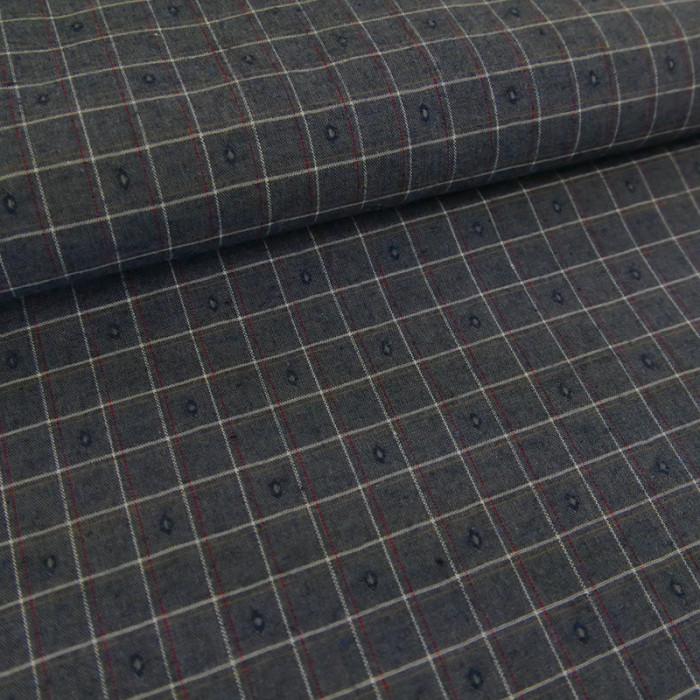 Coupon x 70 cm - Tissu carreaux texturés bleu gris