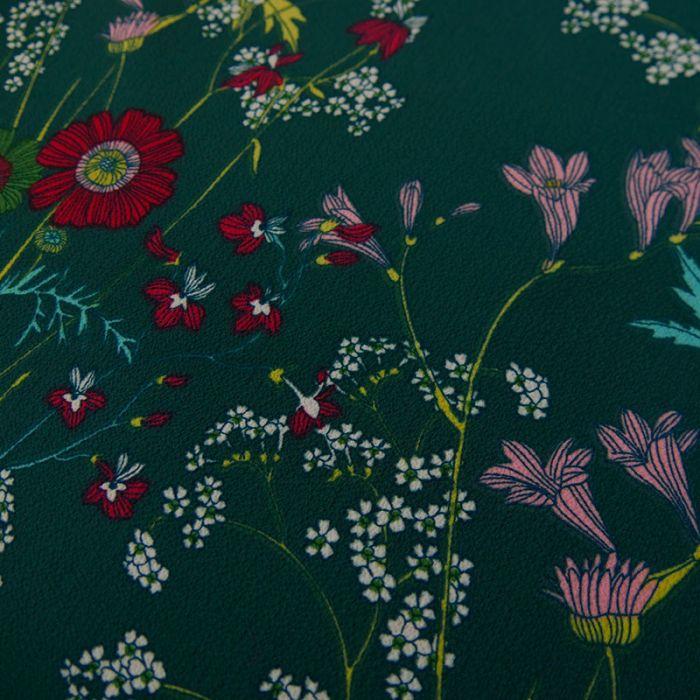 Tissu crêpe polyester fleurs - vert x 10 cm