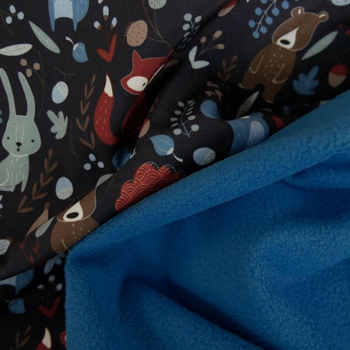 Tissu softshell déperlant animaux - marine x 10 cm