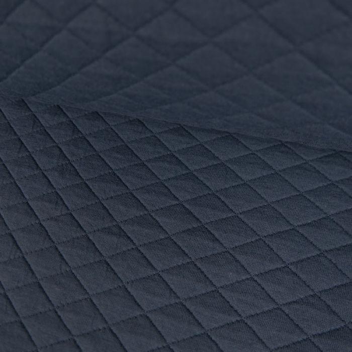 Jersey matelassé coton - bleu x 10 cm
