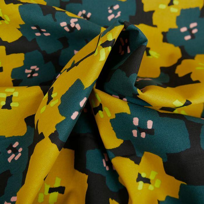 Tissu coton Okina Hana fleurs moutarde - canard x 10 cm