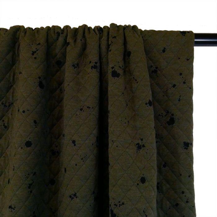 Jersey matelassé tacheté - kaki x 10 cm