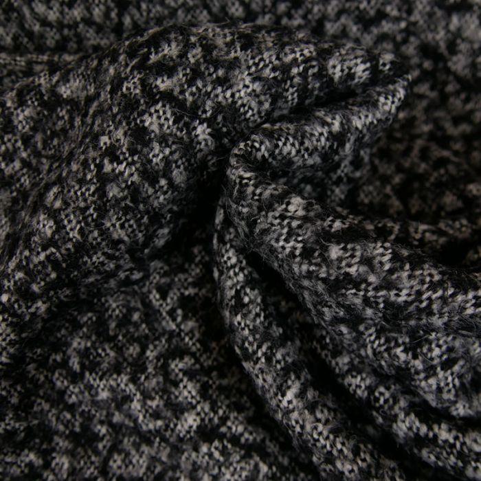 Tissu lainage maille - gris chiné x 10 cm
