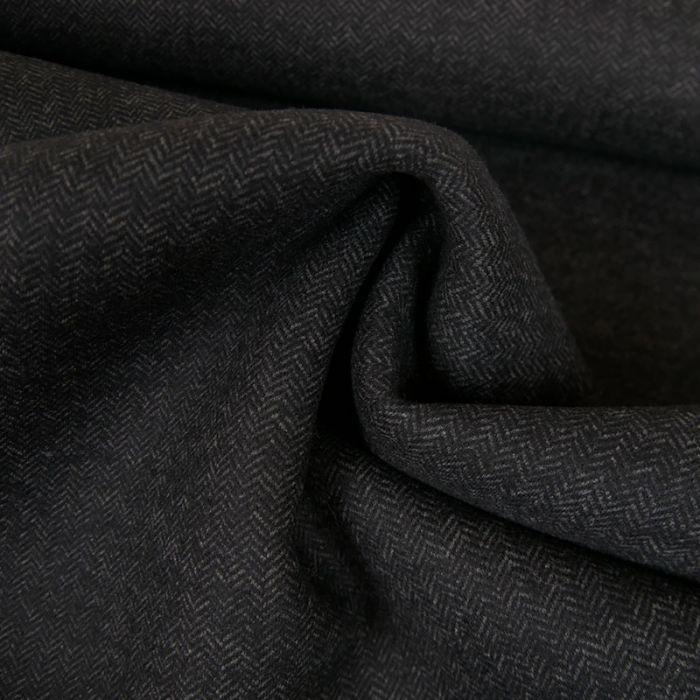 Tissu lainage néoprène chevrons haute couture - gris x 10 cm