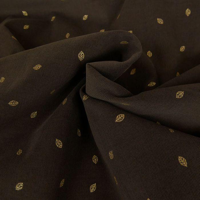 Velours milleraies feuilles glitter - marron x 10 cm