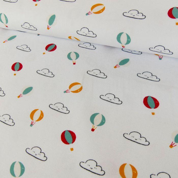 Tissu jersey fin montgolfières - blanc x 10 cm
