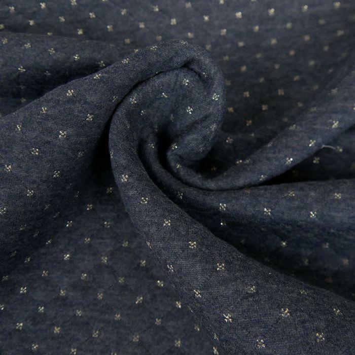 Jersey matelassé réversible bleu - or x 10 cm