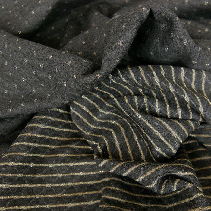 Jersey matelassé réversible gris foncé - or x 10 cm