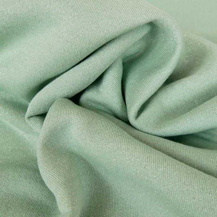 Tissu molleton sweat lurex argent - mint x 10 cm