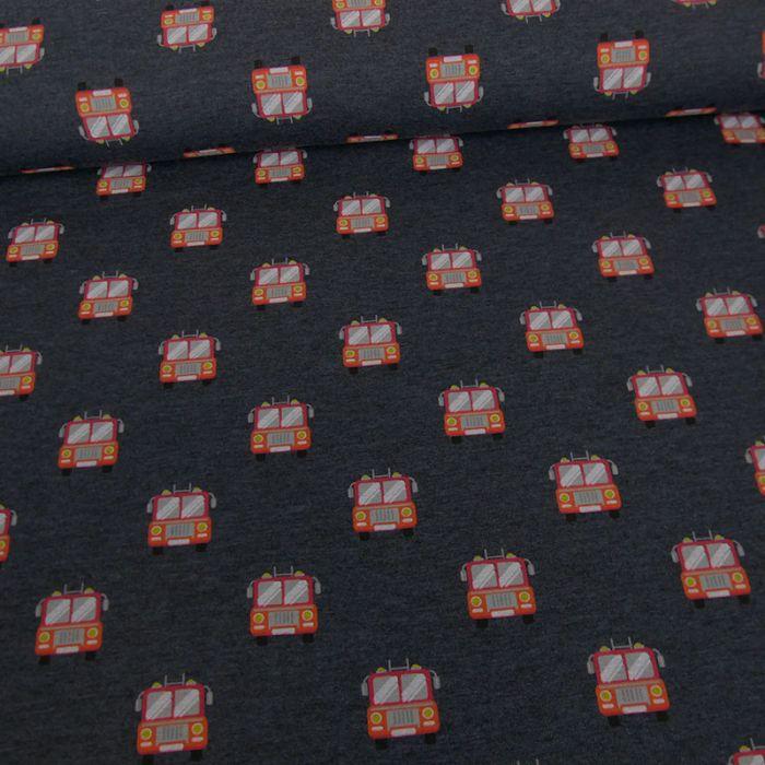 Tissu jersey sweat léger camions pompiers - bleu x 10 cm