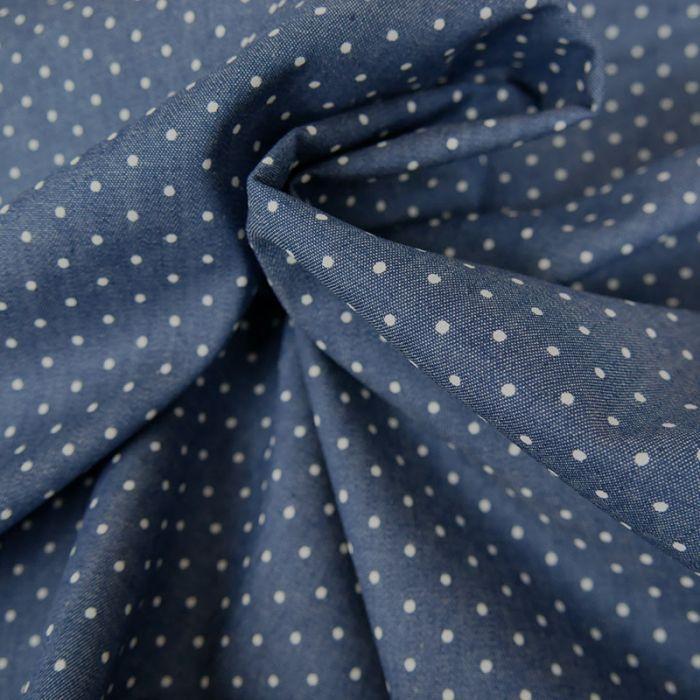Tissu chambray coton pois - bleu denim x 10 cm