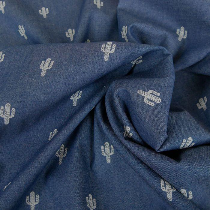 Tissu chambray coton cactus - bleu x 10 cm