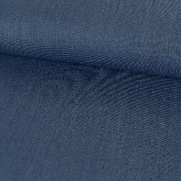 Tissu chambray tencel - bleu x 10 cm