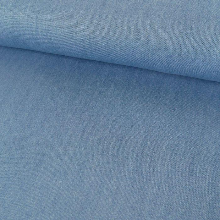 Tissu chambray tencel - bleu blanchi x 10 cm
