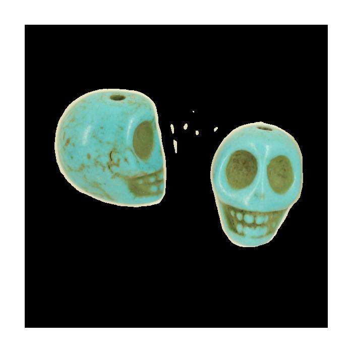 Perle tête de mort en résine 14mm bleu turquoise x1