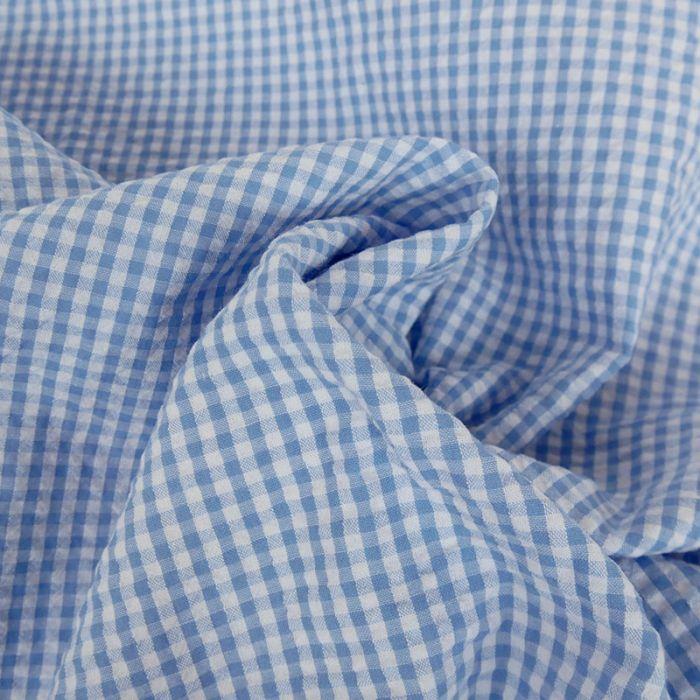 Tissu seersucker vichy - bleu ciel x 10 cm