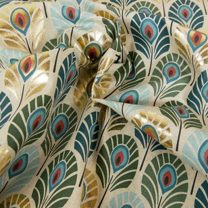 Tissu toile coton plumes de paon lurex - canard x 10 cm