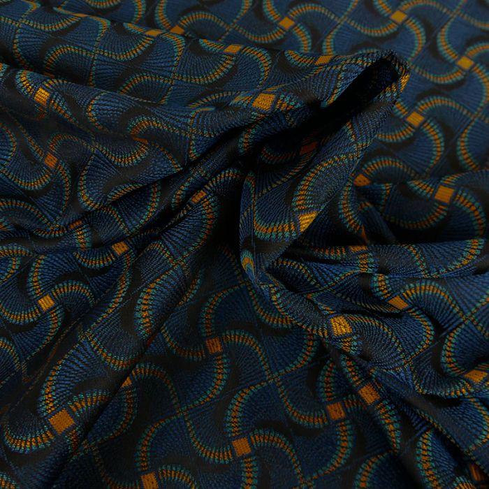 Tissu jacquard wax - bleu x 10 cm