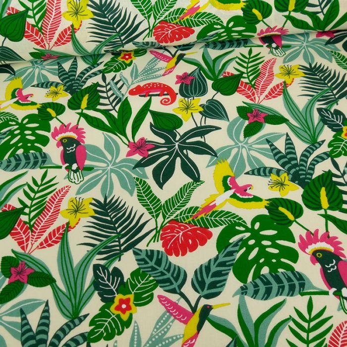 Tissu cretonne coton jungle - écru x 10 cm