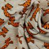 Tissu molleton sweat tigres orange - gris x 10 cm
