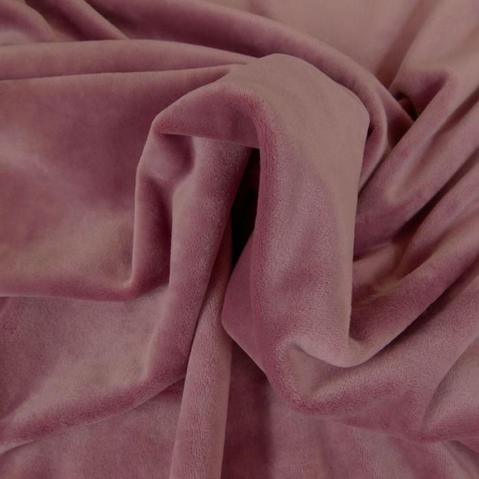 Tissu velours stretch - rose x 10 cm
