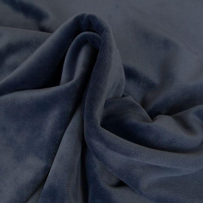 Tissu jersey velours stretch - bleu indigo x 10 cm