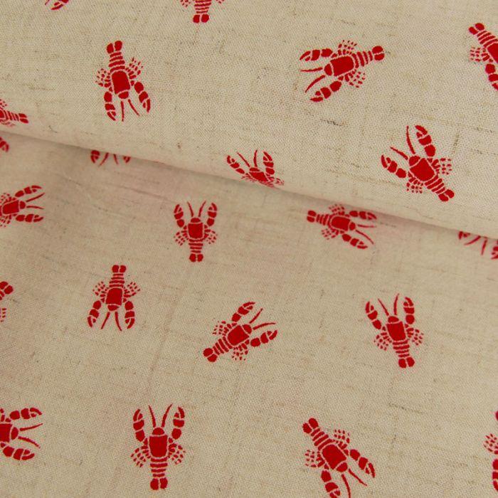 Tissu lin et viscose homard - beige x 10 cm