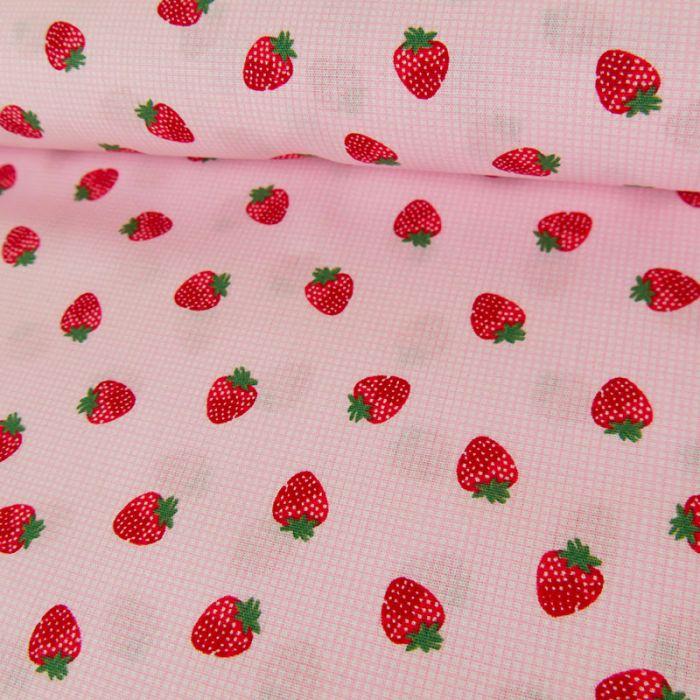Tissu coton fraise - Poppy x 10 cm